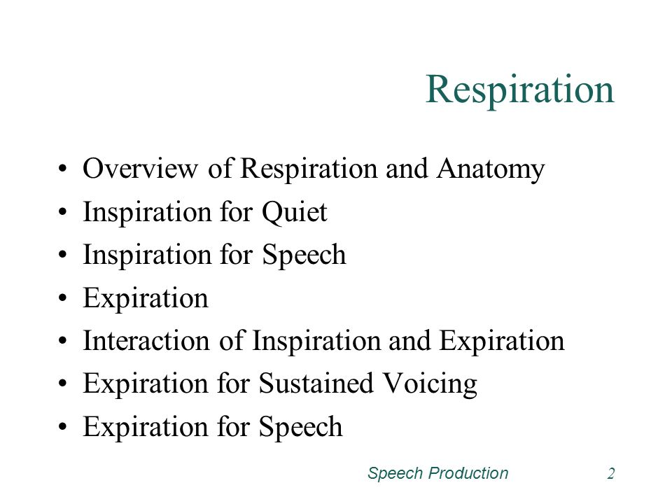Respiration Overview of Respiration and Anatomy Inspiration for Quiet