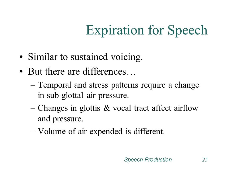 Expiration for Speech Similar to sustained voicing.