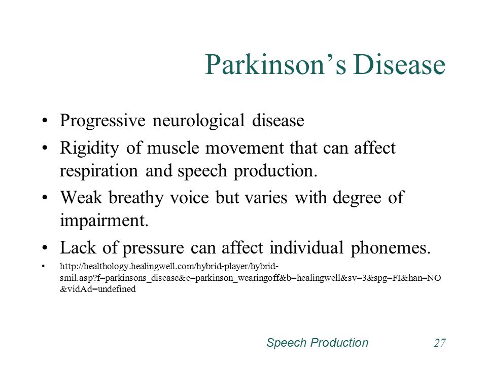 Parkinson's Disease Progressive neurological disease