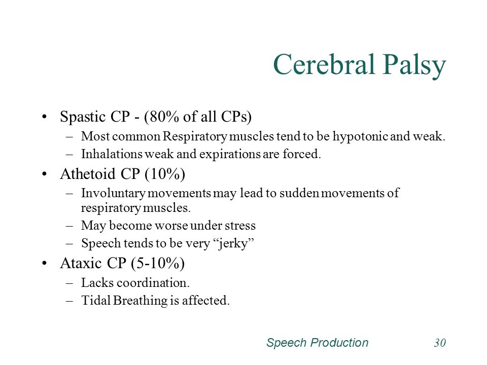 Cerebral Palsy Spastic CP - (80% of all CPs) Athetoid CP (10%)