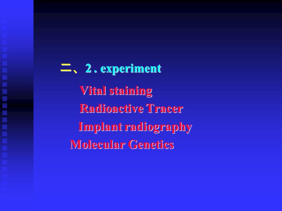 二、2 . experiment Vital staining Radioactive Tracer Implant radiography Molecular Genetics