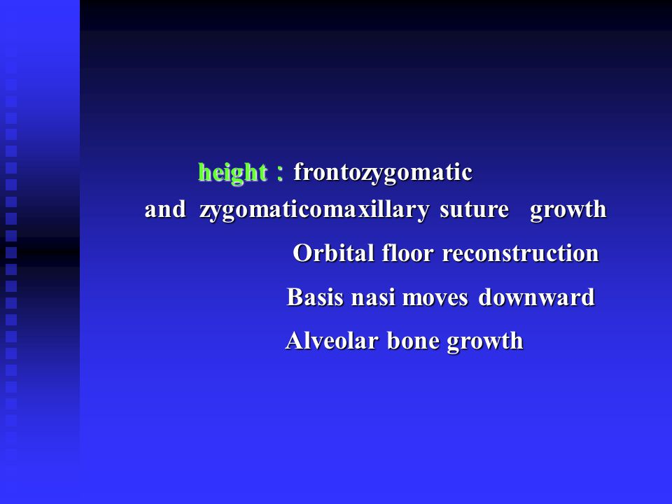 height:frontozygomatic and zygomaticomaxillary suture growth