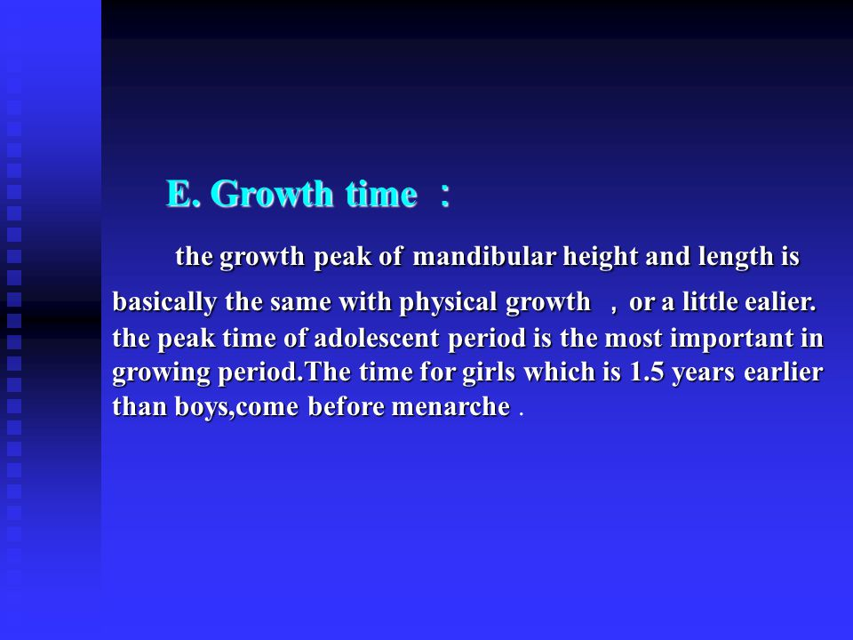 E. Growth time :