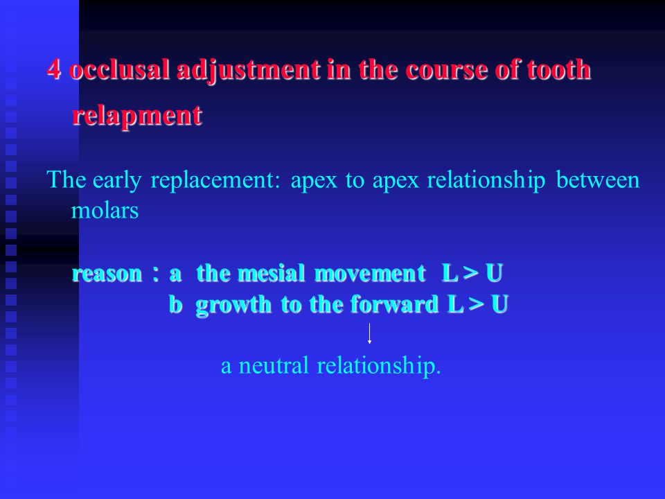 4 occlusal adjustment in the course of tooth relapment