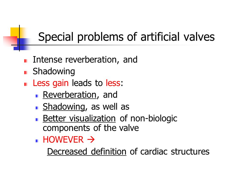 Special problems of artificial valves