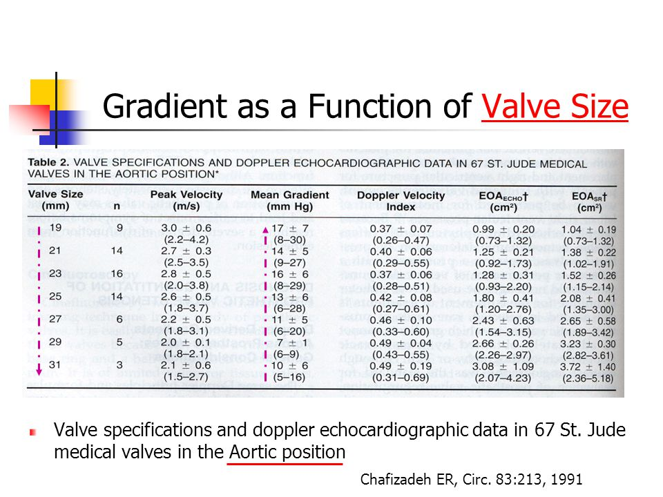 Gradient as a Function of Valve Size