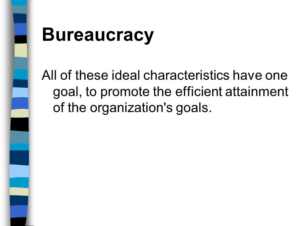 Bureaucracy All of these ideal characteristics have one goal, to promote the efficient attainment of the organization s goals.