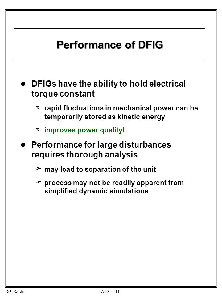 Performance of DFIG cont d