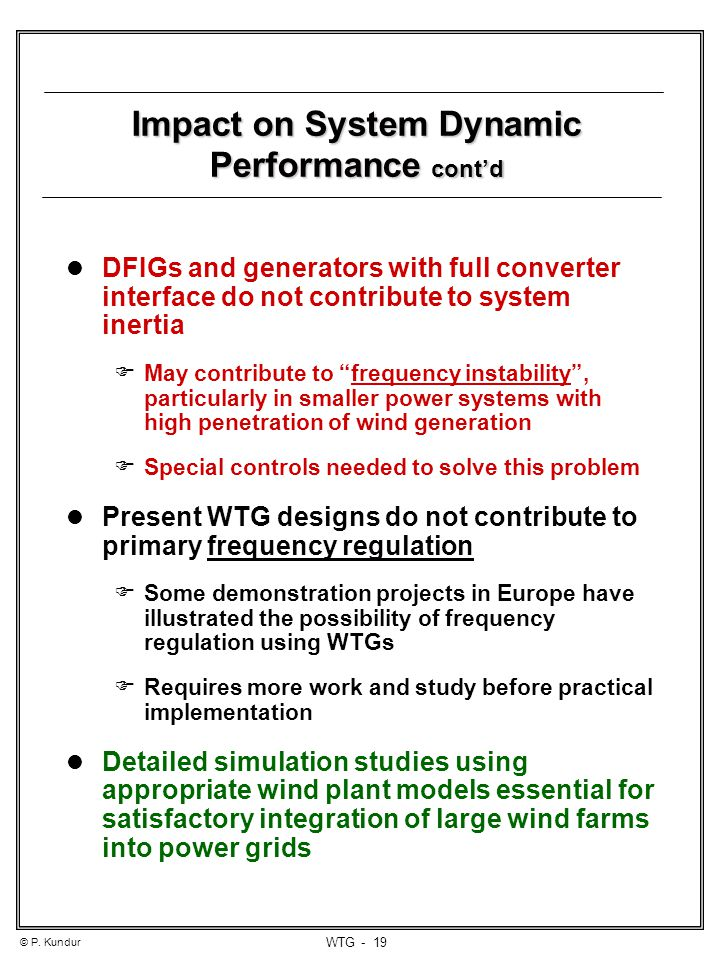 Impact on System Dynamic Performance cont'd