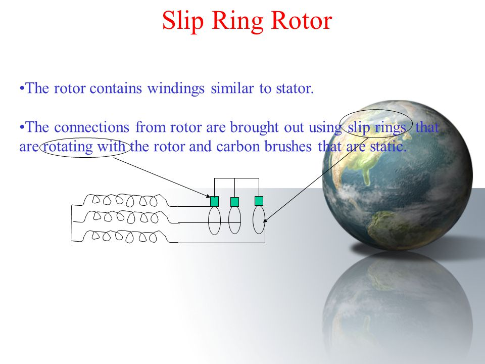 Slip Ring Rotor The rotor contains windings similar to stator.