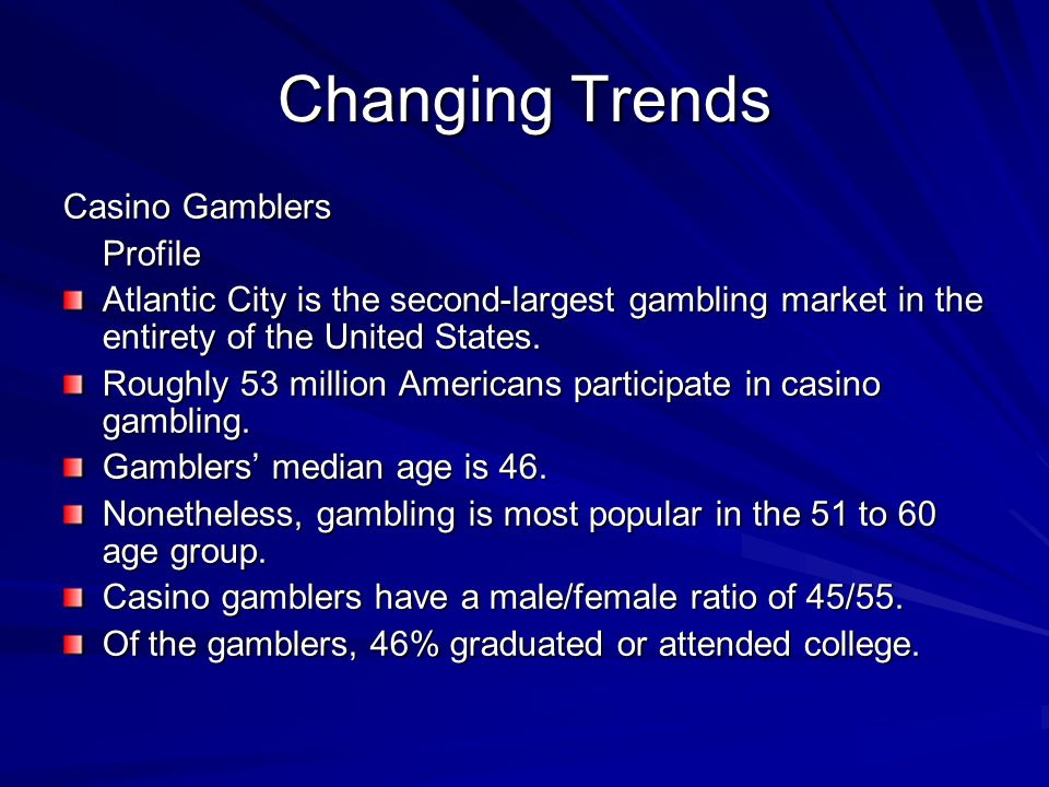 Changing Trends Casino Gamblers Profile