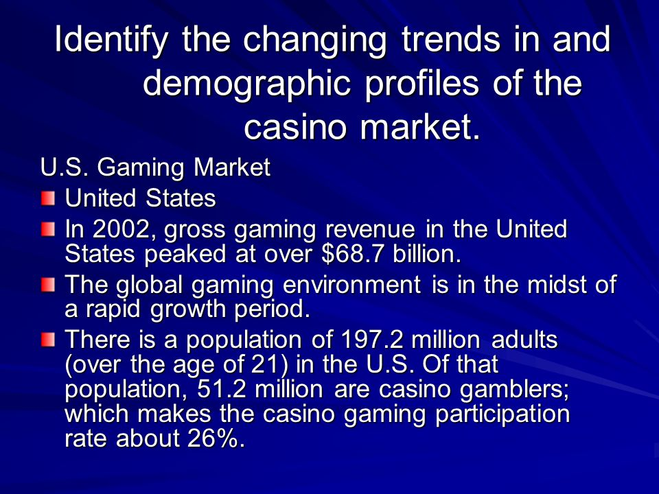 Identify the changing trends in and demographic profiles of the casino market.