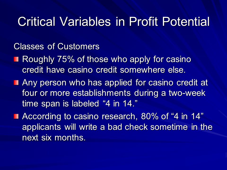 Critical Variables in Profit Potential