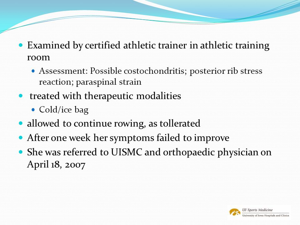 Examined by certified athletic trainer in athletic training room