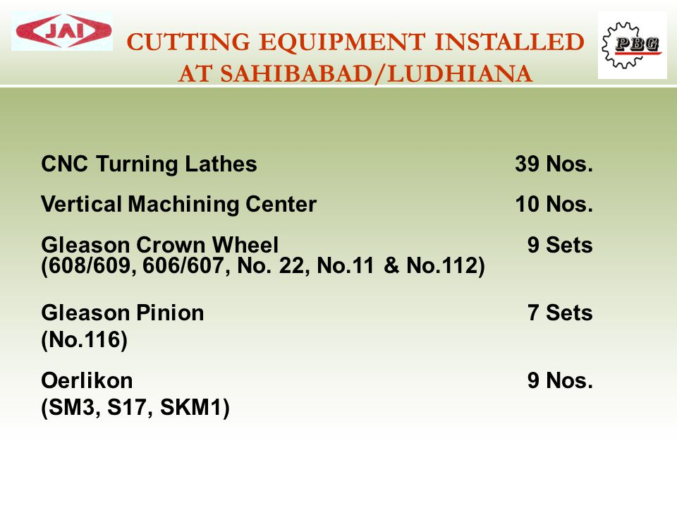 CUTTING EQUIPMENT INSTALLED AT SAHIBABAD/LUDHIANA