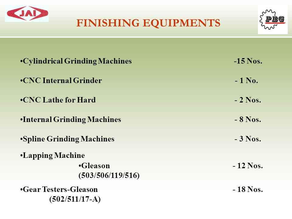 FINISHING EQUIPMENTS Cylindrical Grinding Machines -15 Nos.