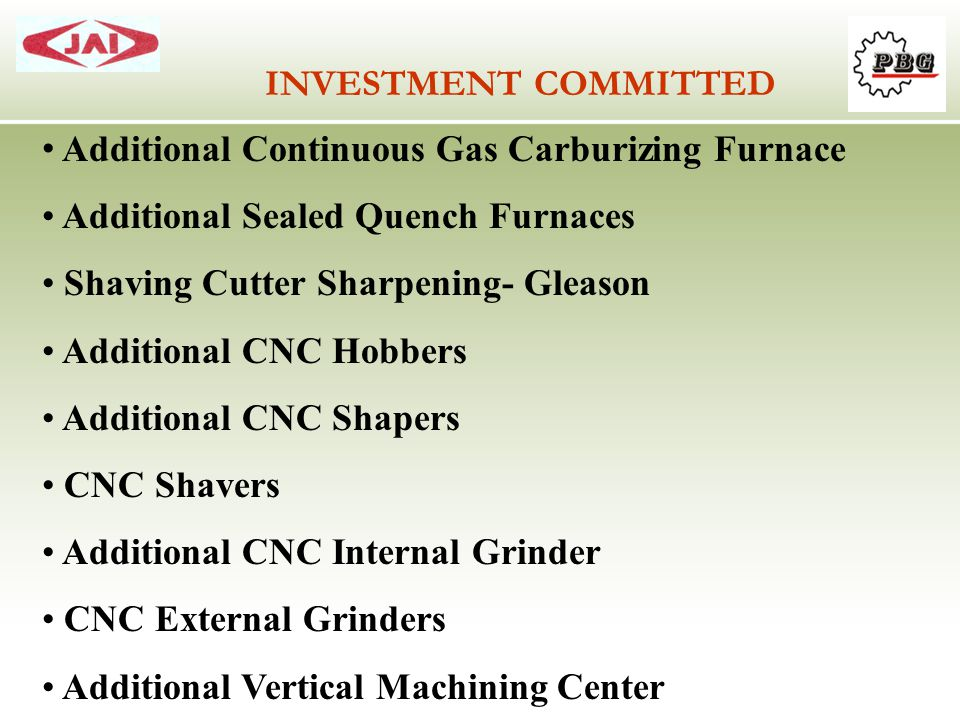 INVESTMENT COMMITTED Additional Continuous Gas Carburizing Furnace. Additional Sealed Quench Furnaces.