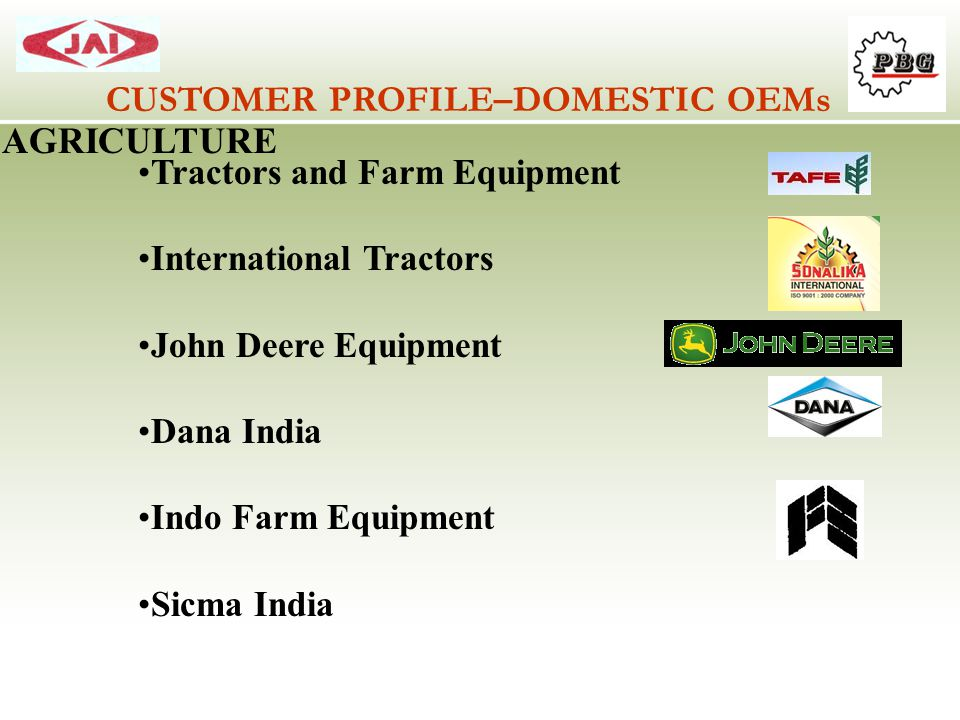 CUSTOMER PROFILE–DOMESTIC OEMs AGRICULTURE