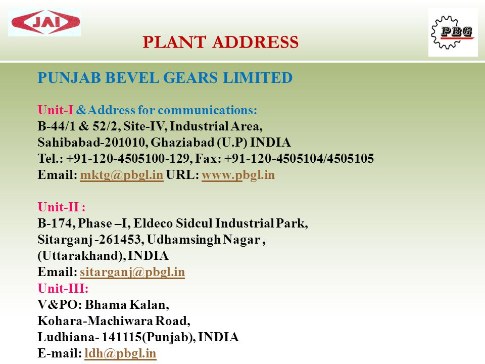 PLANT ADDRESS PUNJAB BEVEL GEARS LIMITED
