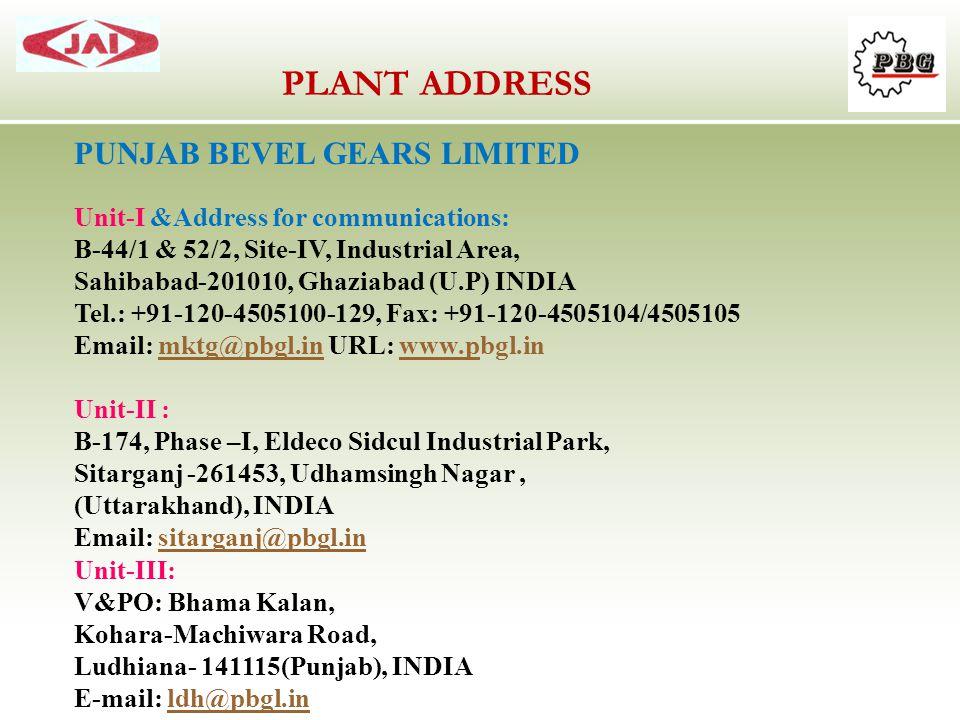 PLANT ADDRESS PUNJAB BEVEL GEARS LIMITED
