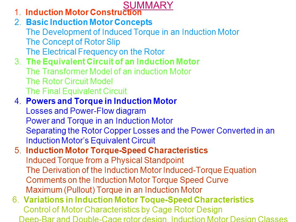 SUMMARY 2. Basic Induction Motor Concepts