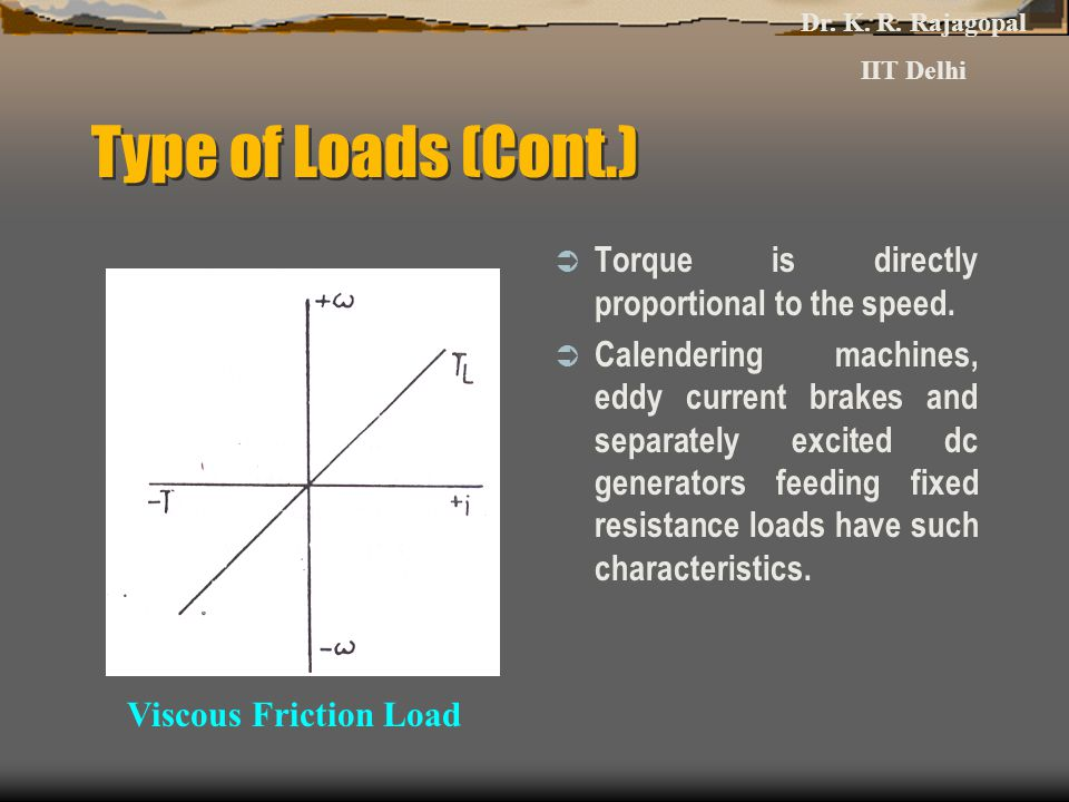Type of Loads (Cont.) Torque is directly proportional to the speed.