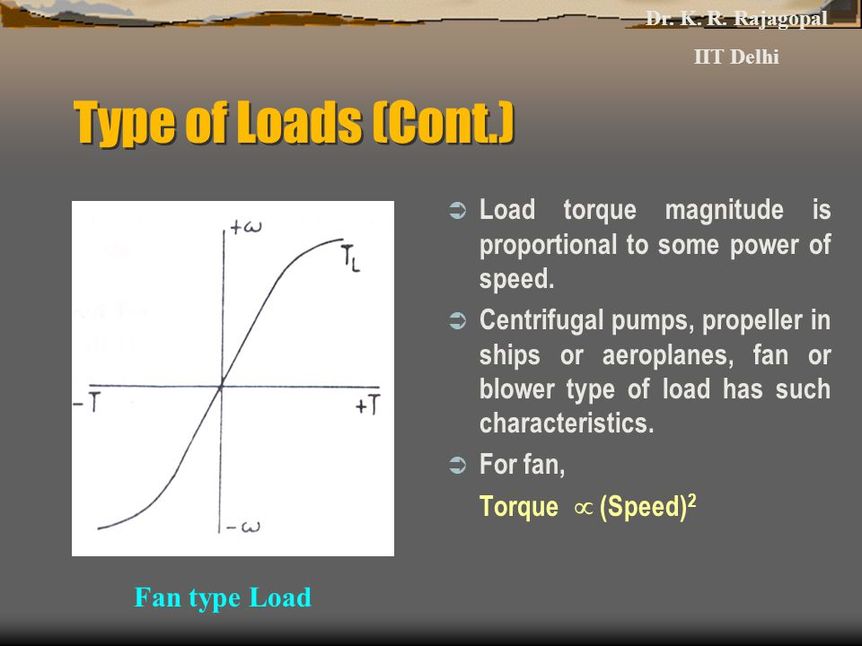 Dr. K. R. Rajagopal IIT Delhi. Type of Loads (Cont.) Load torque magnitude is proportional to some power of speed.