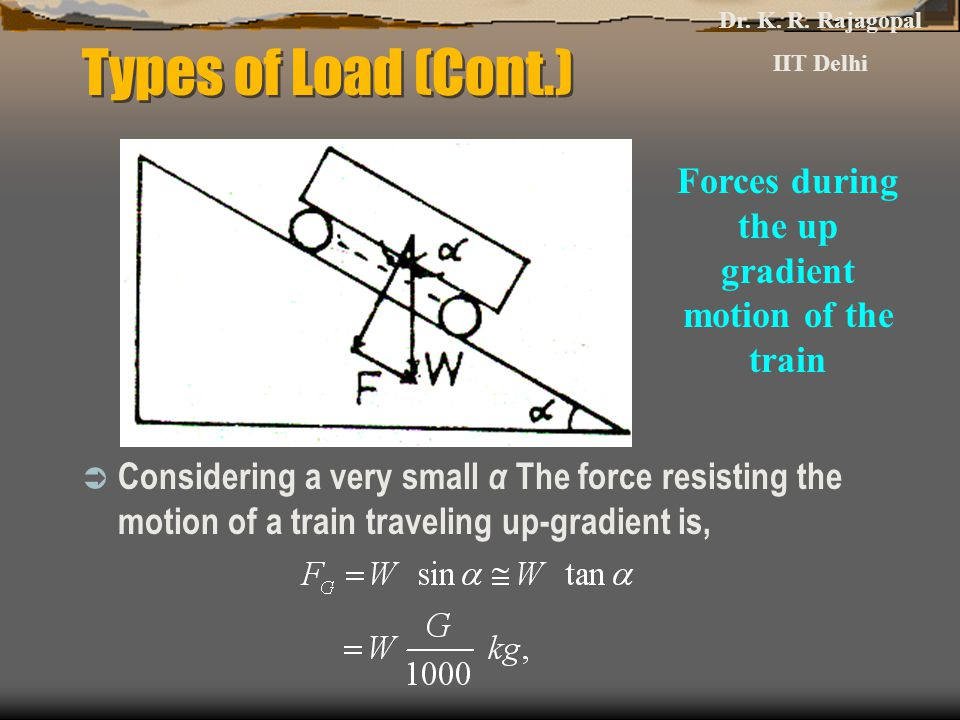 Forces during the up gradient motion of the train