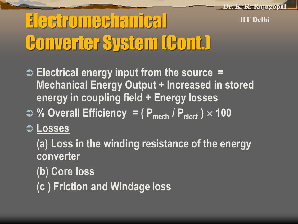 Electromechanical Converter System (Cont.)