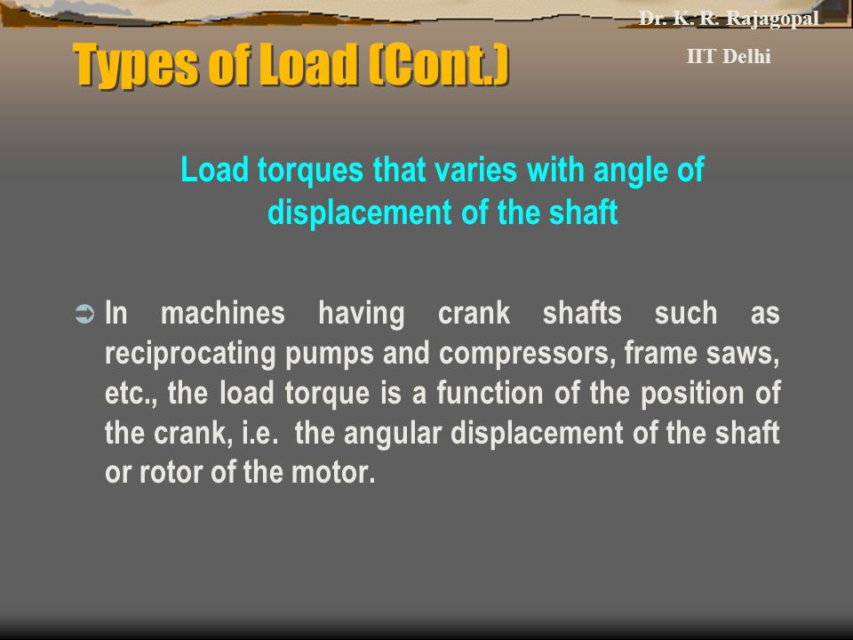 Load torques that varies with angle of displacement of the shaft