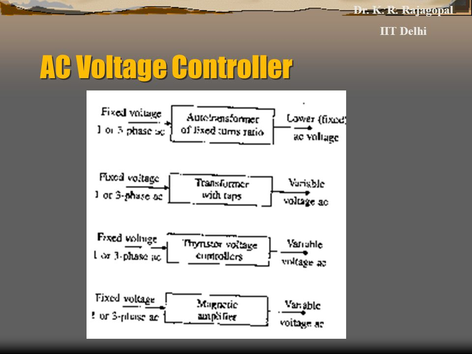 Dr. K. R. Rajagopal IIT Delhi AC Voltage Controller
