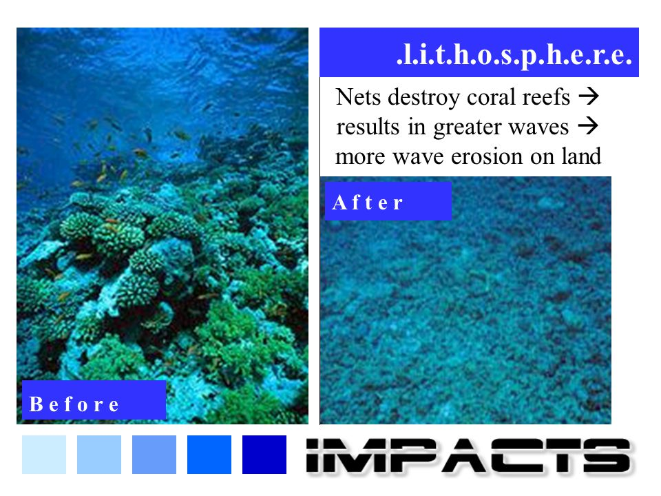 .l.i.t.h.o.s.p.h.e.r.e. Nets destroy coral reefs  results in greater waves  more wave erosion on land.