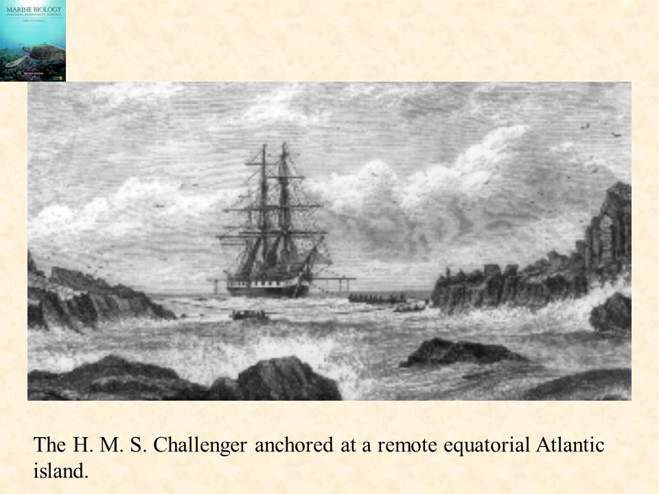 The H. M. S. Challenger anchored at a remote equatorial Atlantic