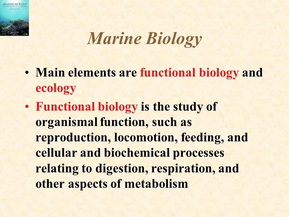 Marine Biology Main elements are functional biology and ecology