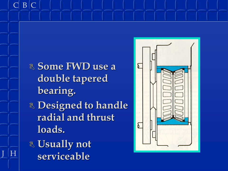 Some FWD use a double tapered bearing.
