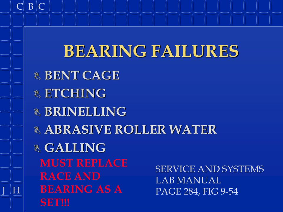BEARING FAILURES BENT CAGE ETCHING BRINELLING ABRASIVE ROLLER WATER