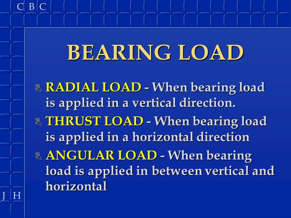 BEARING LOAD RADIAL LOAD - When bearing load is applied in a vertical direction.