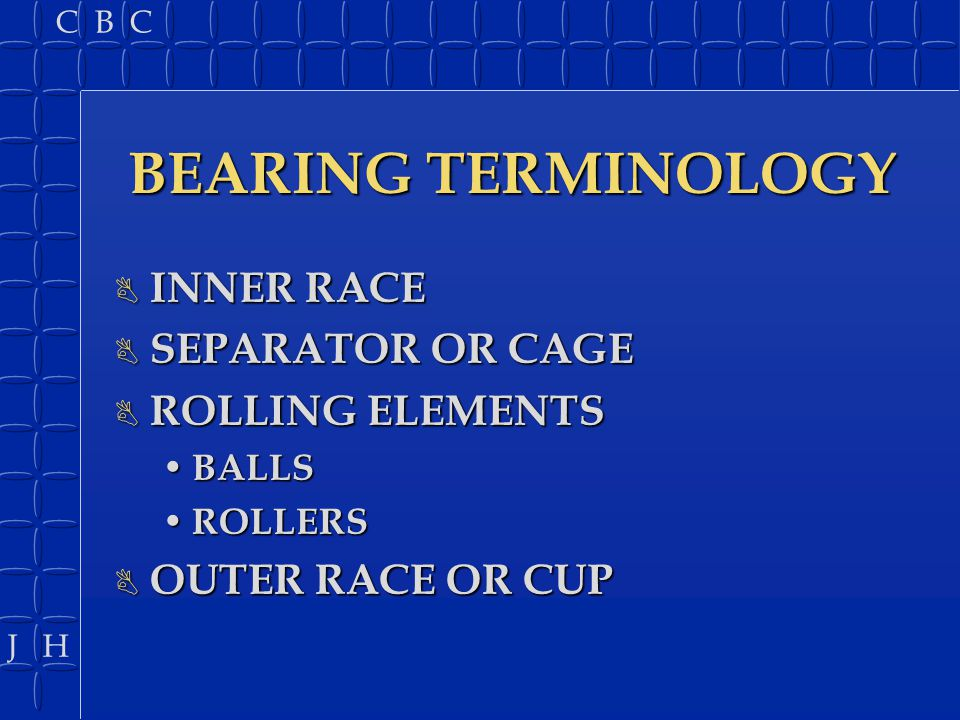 BEARING TERMINOLOGY INNER RACE SEPARATOR OR CAGE ROLLING ELEMENTS