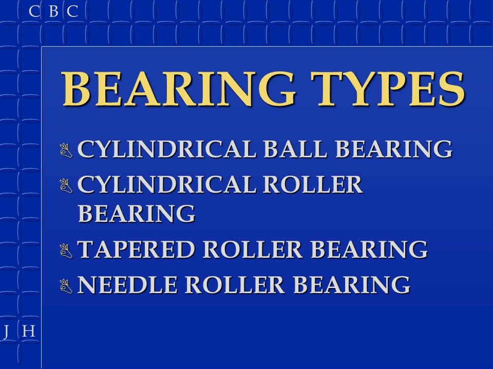 BEARING TYPES CYLINDRICAL BALL BEARING CYLINDRICAL ROLLER BEARING