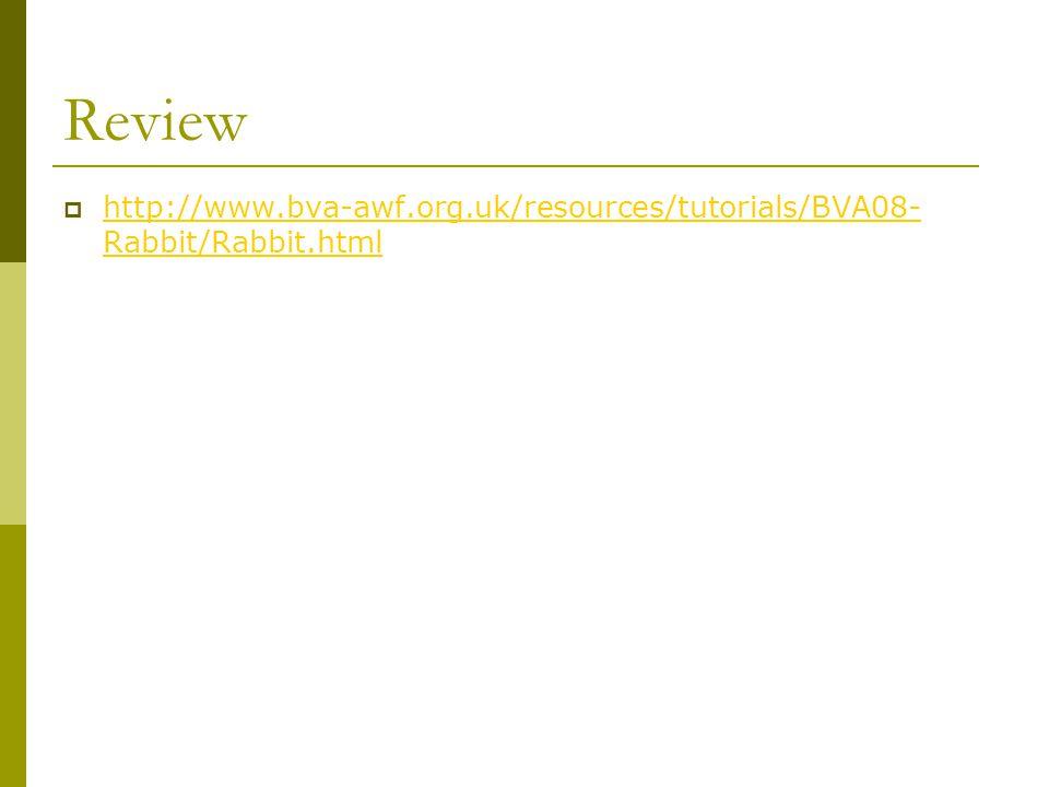 Review http://www.bva-awf.org.uk/resources/tutorials/BVA08-Rabbit/Rabbit.html