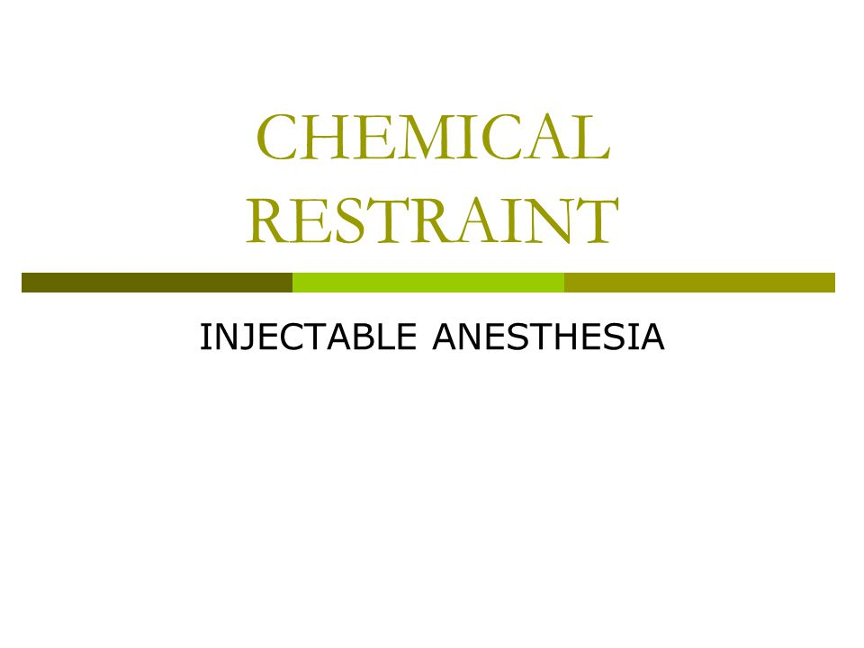 INJECTABLE ANESTHESIA