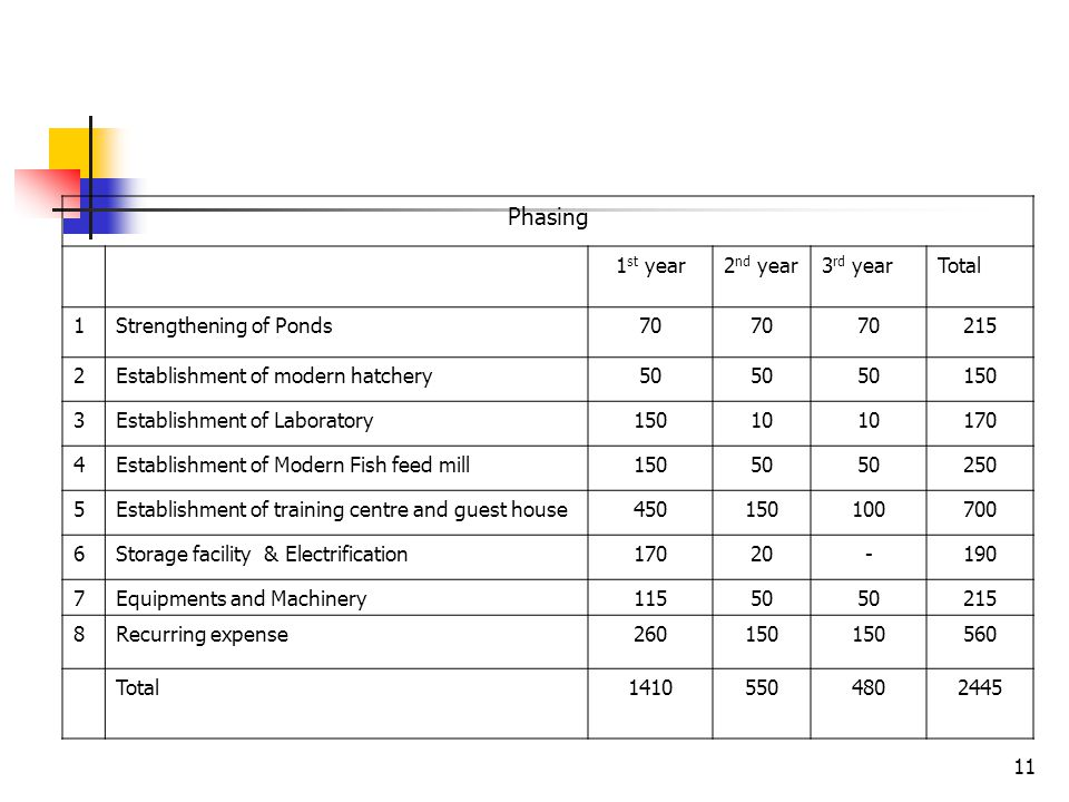 Phasing 1st year 2nd year 3rd year Total 1 Strengthening of Ponds 70
