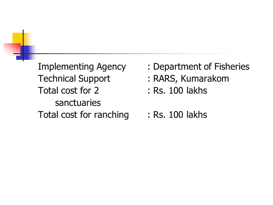 Implementing Agency : Department of Fisheries