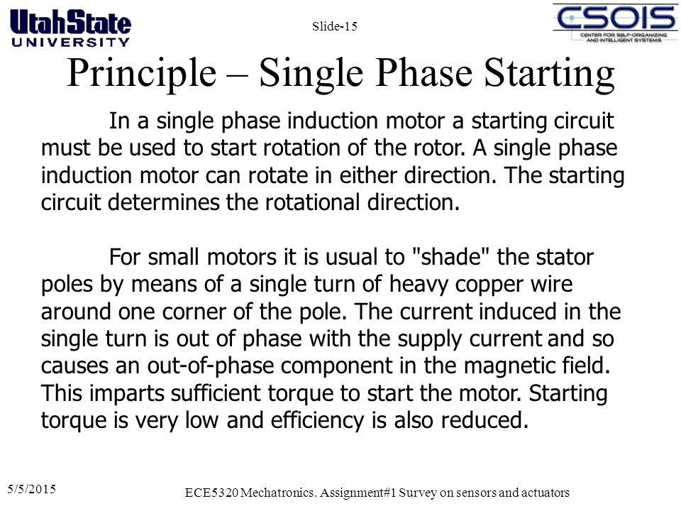 Principle – Single Phase Starting