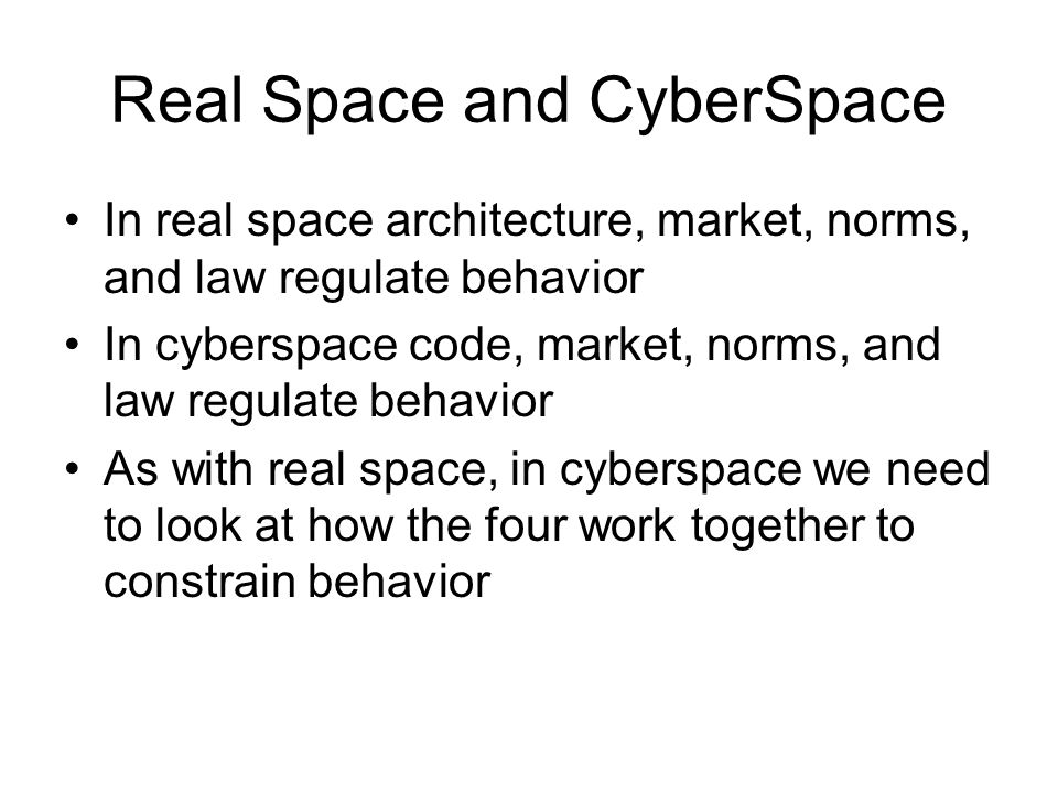Real Space and CyberSpace
