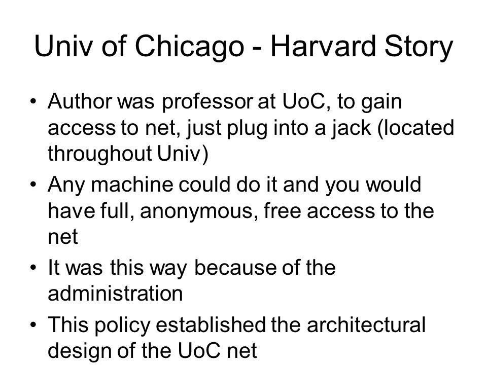 Univ of Chicago - Harvard Story