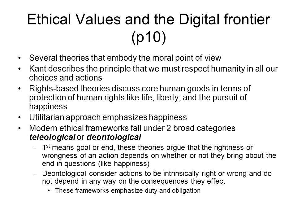 Ethical Values and the Digital frontier (p10)