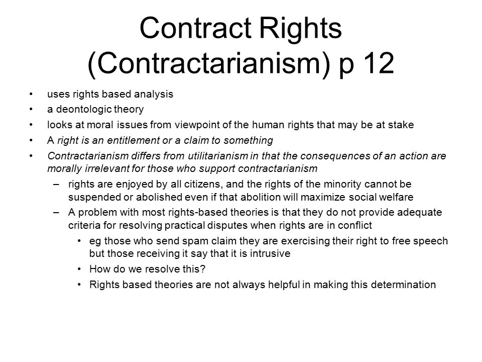 Contract Rights (Contractarianism) p 12