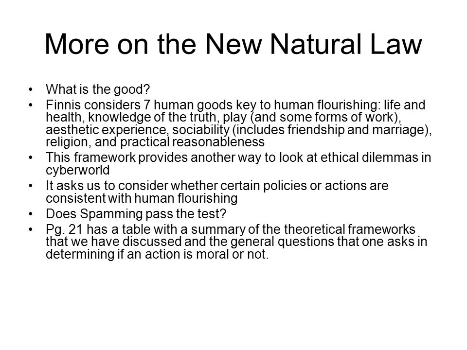 More on the New Natural Law