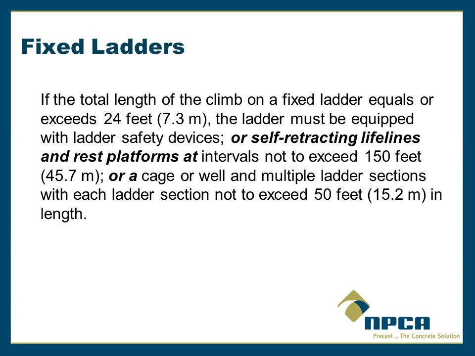 Fixed And Portable Ladders A Guide To Osha Rules Ppt